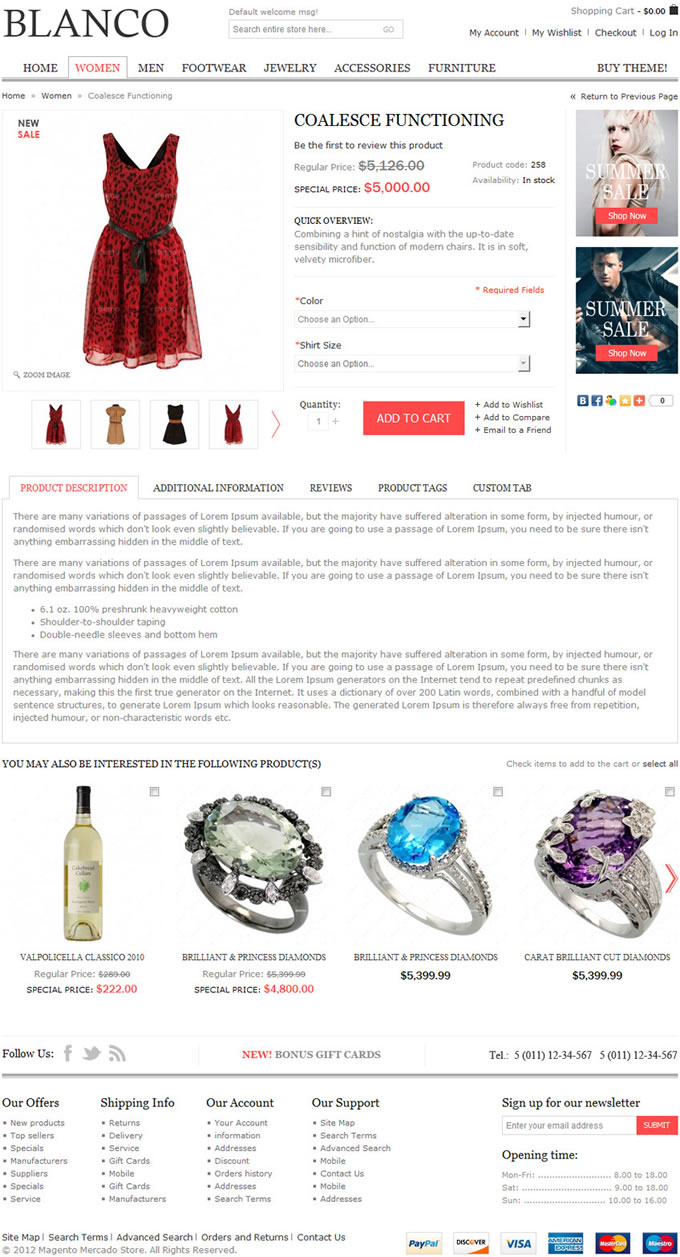 Página de detalhes de produto da template Blanco para lojas virtuais baseadas na plataforma Magento